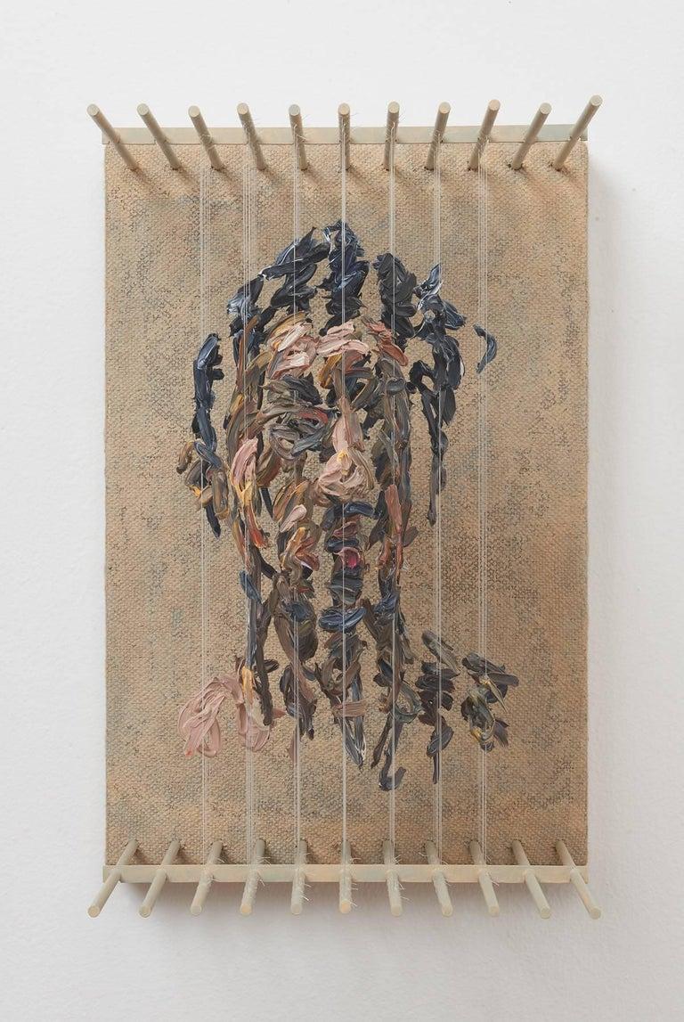 Chris Dorosz Portrait Painting - SRO- 3D figurative portrait sculpture with suspended paint strokes