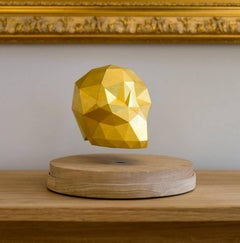 Ankou Gold - levitating 3D printed skull with gold leaves and magnet