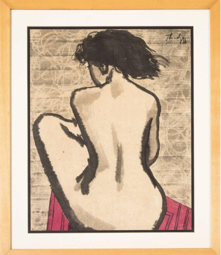 Untitled - nude woman painting on paper