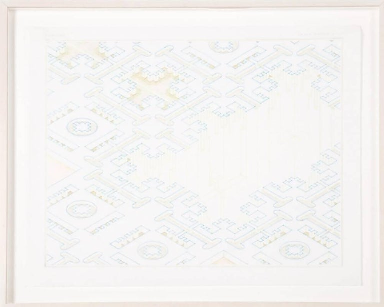 David Brody Abstract Drawing - Untitled (F221, G3) - soft pastel color blue yellow abstract geometric drawing