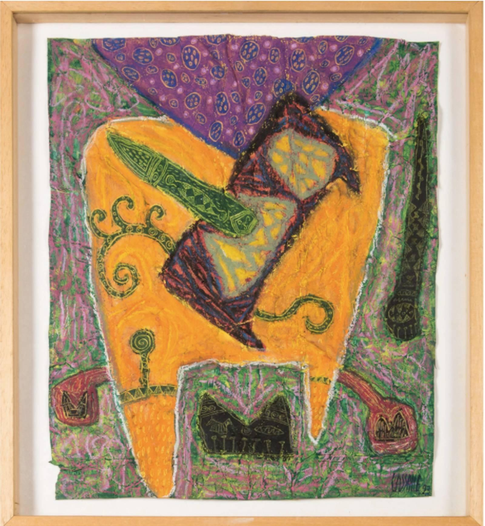 untitled- abstract bright color oil pastel drawing on paper