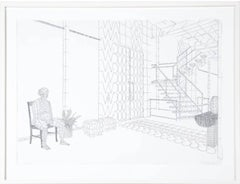 untitled interior space - black and white drawing on paper