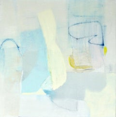 Adjustments- abstract oil painting soft pastel colors blue white yellow