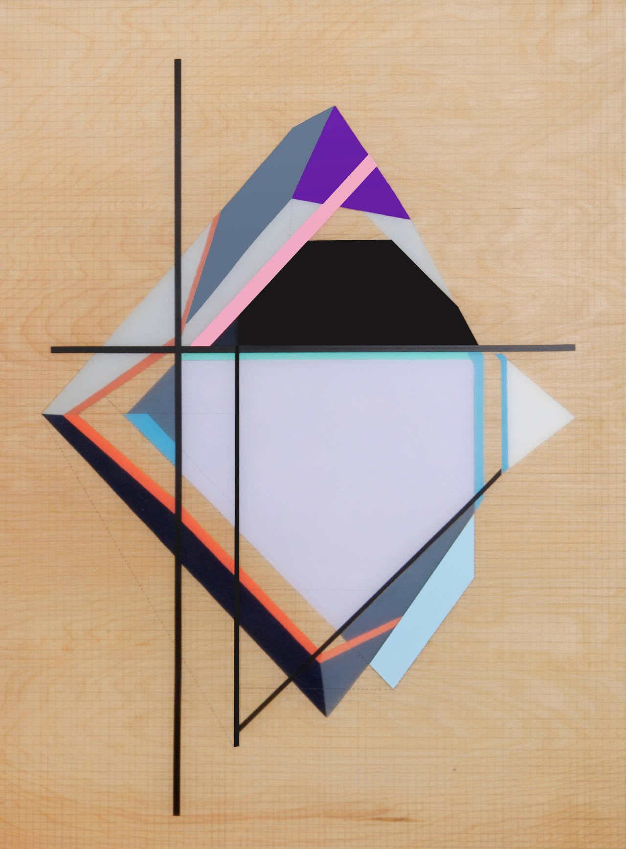 Zin Helena Song Abstract Painting - Grid Origami #5 - Purple and Black Geometric Painting on Wood