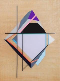 Grid Origami #5 - Purple and Black Geometric Painting on Wood