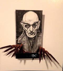 Nosferatu- black and white figurative portrait on matchbox