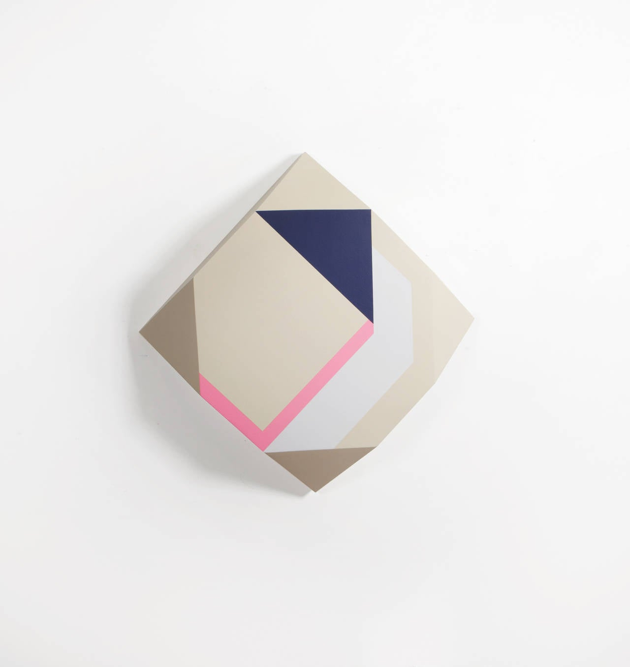 Origami #40 - Cream Blue and Pink Sculptural Painting on Wood