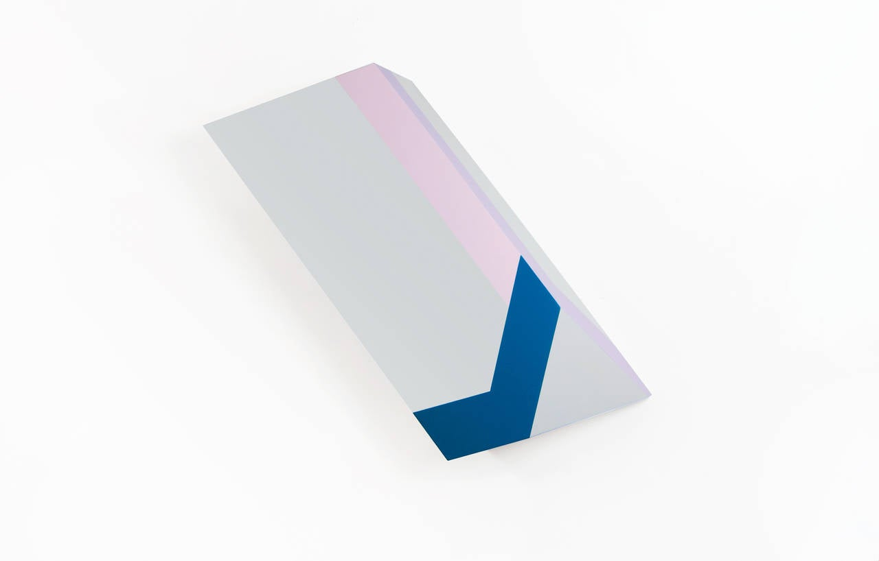 Origami #43 - Grey Purple and Blue Geometric Sculptural Painting on Wood