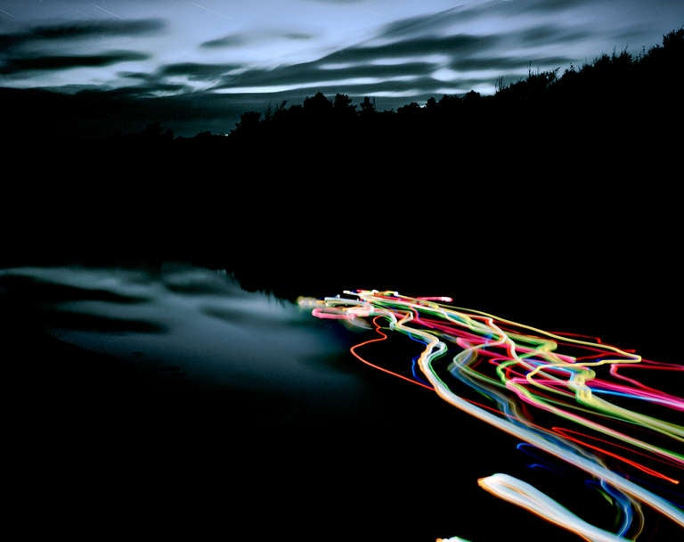 Ole Brodersen Landscape Photograph - Rubber and light bulbs #01 - Landscape Contemporary Photo Dawn Neon Lights water
