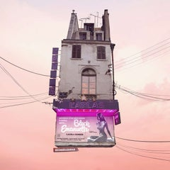 Cinema - Digital contemporary color photograph of parisian flying house