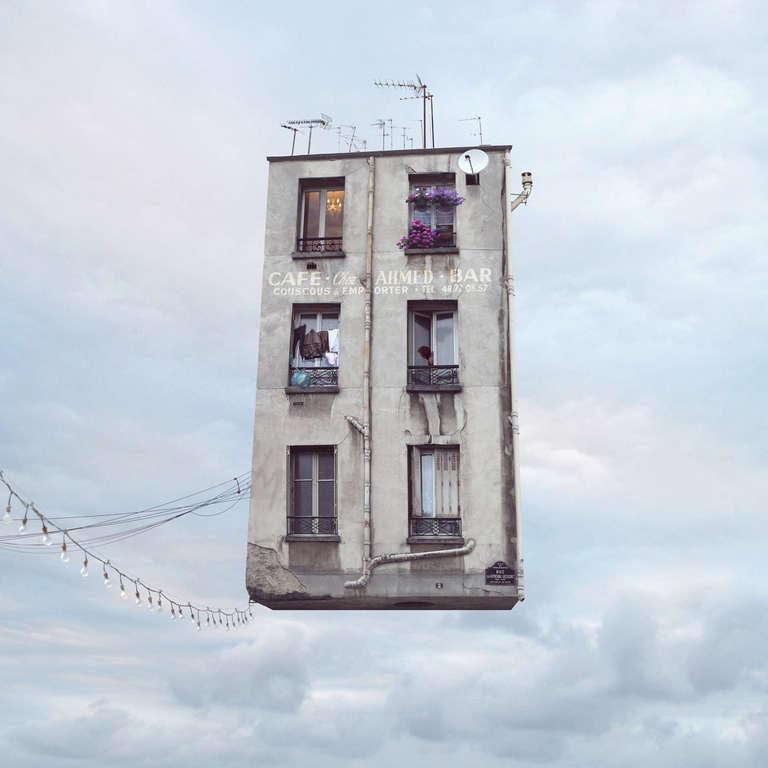 Couscous - Digital Pale Blue Contemporary Color Photograph of Parisian House