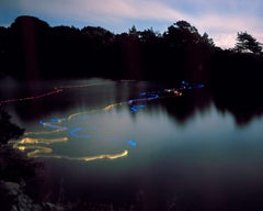 Rubber and light bulbs #02 - landscape contemporary photo of dawn, neon water