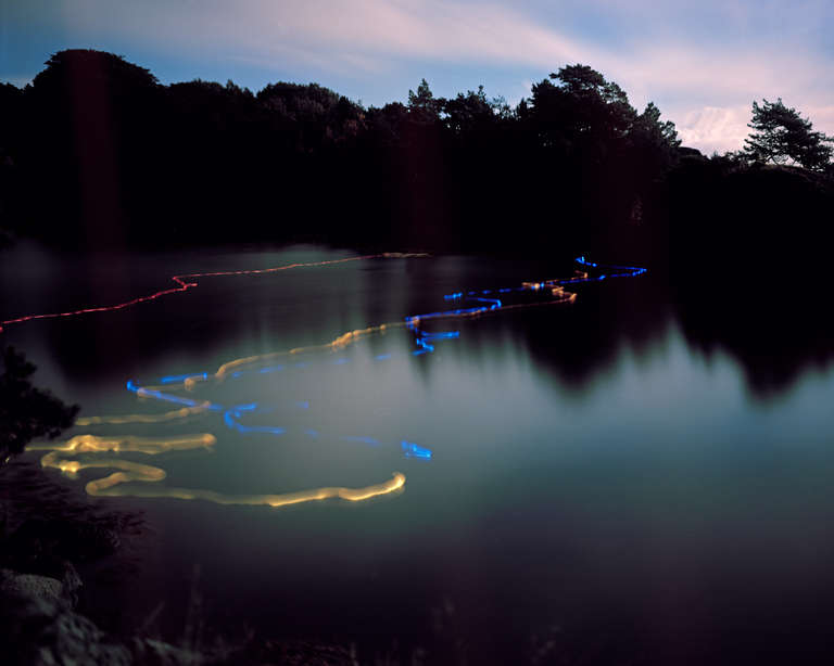 Ole Brodersen Landscape Photograph - Rubber and light bulbs #02 - landscape contemporary photo of dawn, neon water
