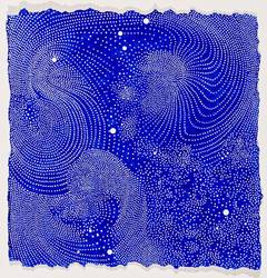 Wind - Contemporary Abstract Blue Dots Painting on Paper