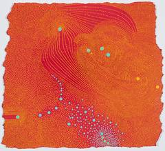 Pressure - Abstract Orange Dot Painting on Paper