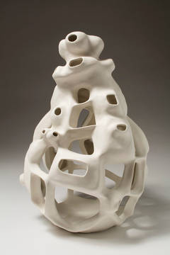 Untitled #34 - Porcelain geometric white sculpture