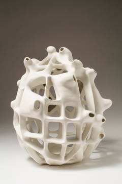 Untitled #35 - Porcelain geometric white sculpture