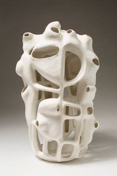 Untitled #36 - Porcelain geometric white sculpture
