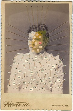 Woman with Numbers- Contemporary street art remake of old photograph mixed media