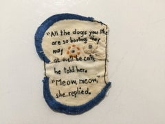 All the Dogs- written embroidery on fabric