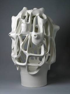 Untitled #7 - Porcelain geometric white sculpture