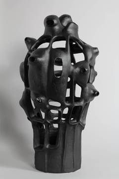 Untitled #26 - black Porcelain geometric sculpture