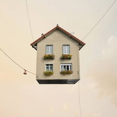 Harmony -  whimsical digital color photograph of a flying house
