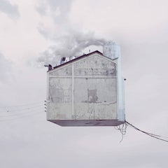 Laundry- white digital color photograph of a flying house