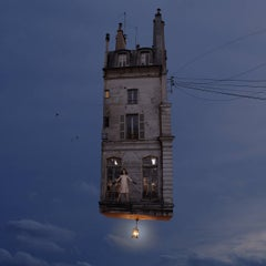 Who Are You? Digital Color Photograph of a flying Parisian house
