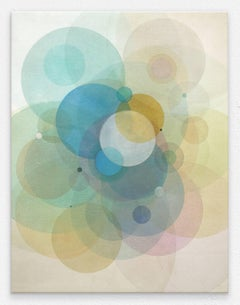Day Map 1218- Abstract geometric soft pastel color circles painting on canvas