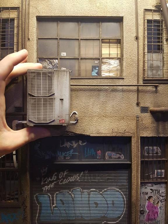 Cecile Walker Cycles - miniature urban building sculpture- street art graffiti - Sculpture by Joshua Smith