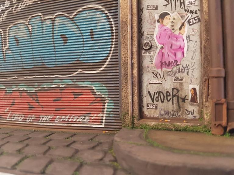 Cecile Walker Cycles - miniature urban building sculpture- street art graffiti - Contemporary Sculpture by Joshua Smith