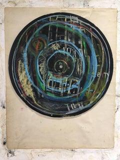 Downtown - vinyl record post graffiti street art pastel drawing on canvas