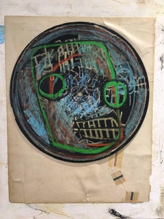 No room for squares - post graffiti street art pastel drawing on vinyl record