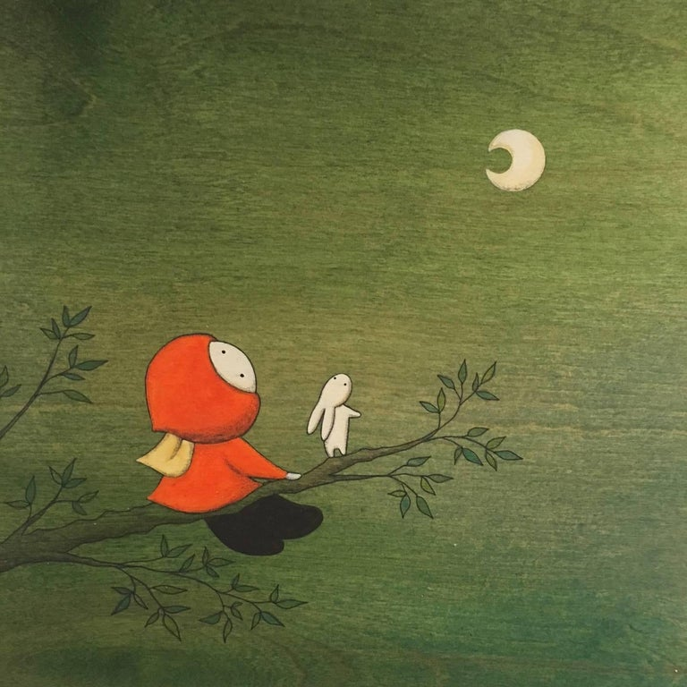 Naoko Stoop Figurative Painting - Forest - green whimsical painting on wood of girl looking at the moon
