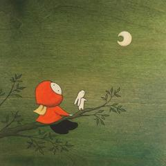 Forest - green whimsical painting on wood of girl looking at the moon