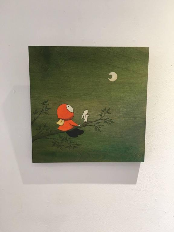 Forest - green whimsical painting on wood of girl looking at the moon - Painting by Naoko Stoop