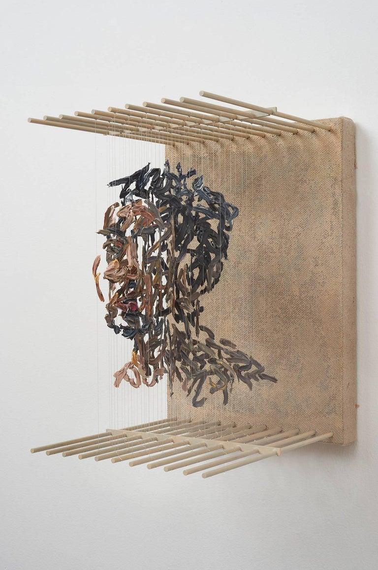 SRO- 3D figurative portrait sculpture with suspended paint strokes - Painting by Chris Dorosz