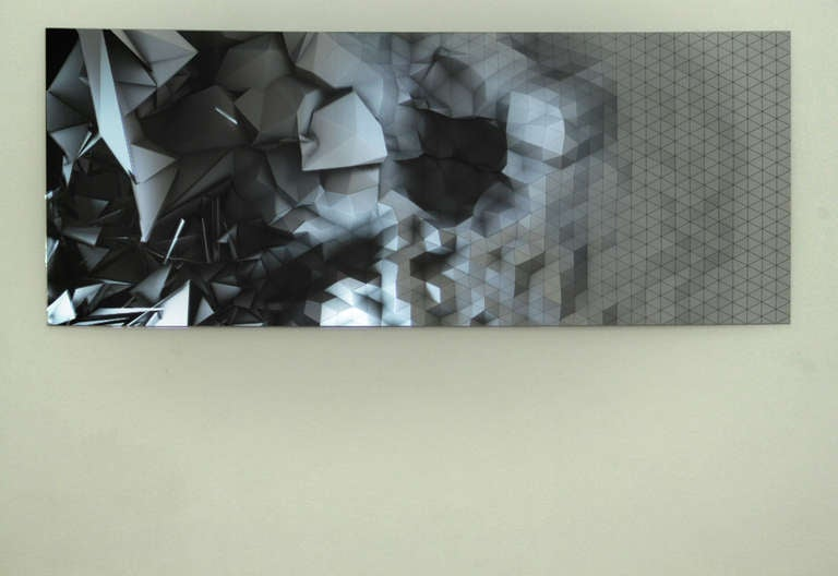 Light Canvas III- abstract geometric sintra print animated by light projection