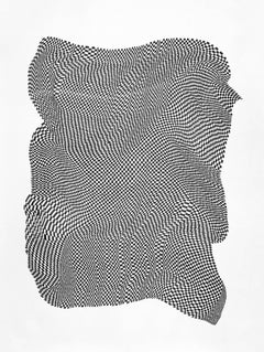 Squares 2- abstract geometric black and white ink drawing on paper