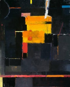 Fragment of song - Large black orange textural abstract oil painting