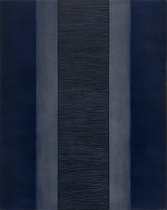 Passage 8 - large dark blue abstract contemporary oil panting