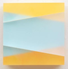 Untitled Blue Yellow- abstract modern translucent mural wall sculpture