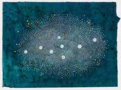 Jouer #6 - Contemporary abstract dots painting on green painted paper