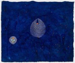 Jouer #9 - Contemporary abstract dots painting on blue painted paper