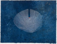 Jouer #15 - Contemporary abstract dots painting on blue painted paper