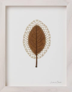 Lace II -embroidery flora dried leaf on paper
