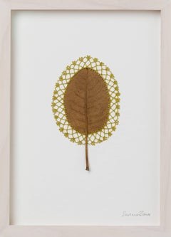 Lace III -embroidery flora dried leaf on paper