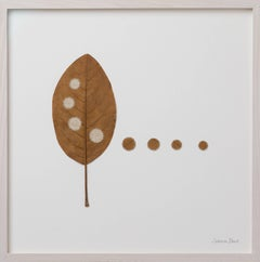 Four Circles II- embroidery leaf on paper