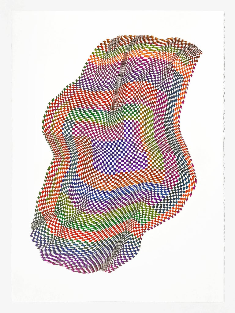 Dana Piazza Abstract Drawing - Squares 15- abstract geometric bright color ink drawing on paper